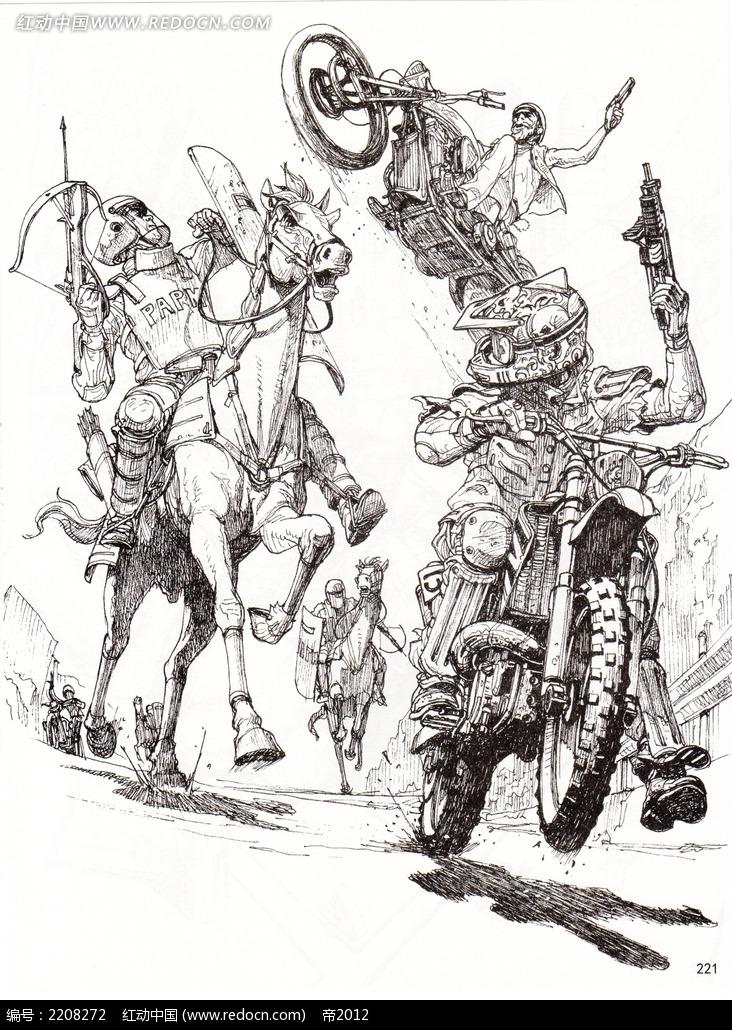 战斗场景手绘线稿图