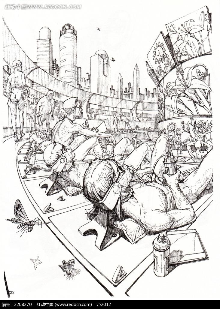 未来广场手绘稿