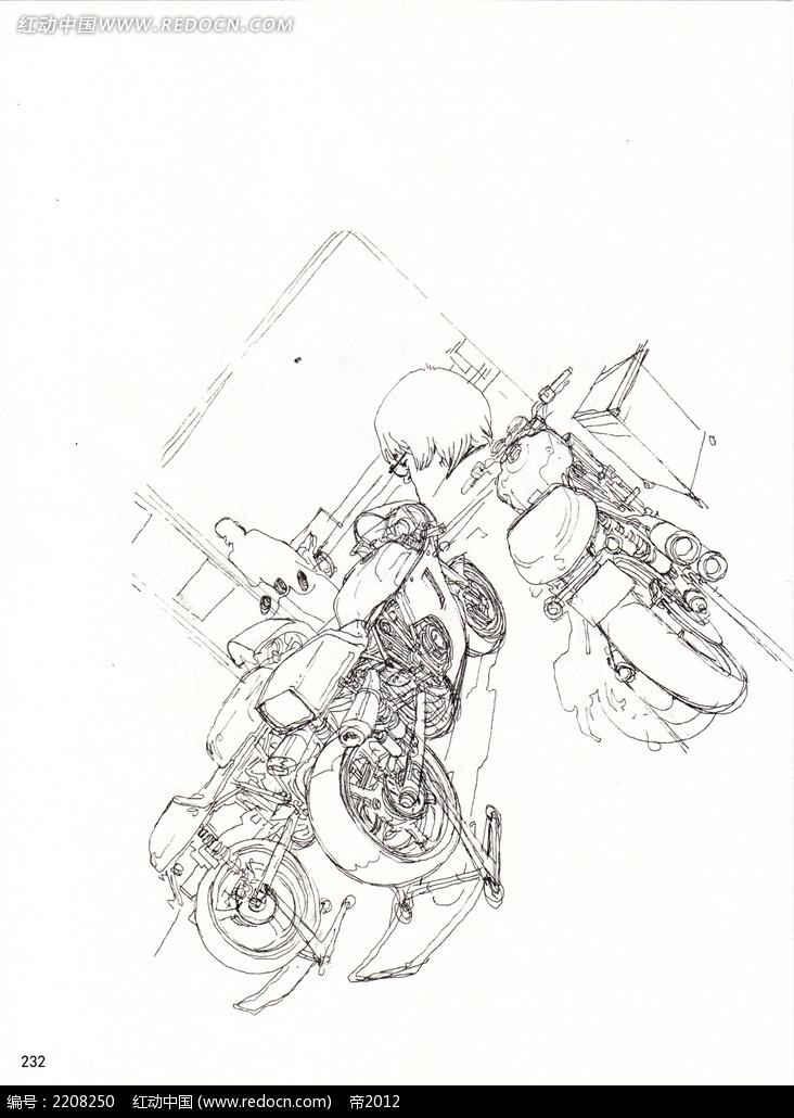 摩托车插画手稿