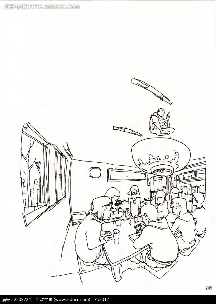 聚餐插画手稿