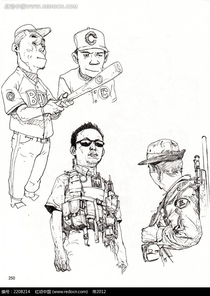 运动男军人插画手稿
