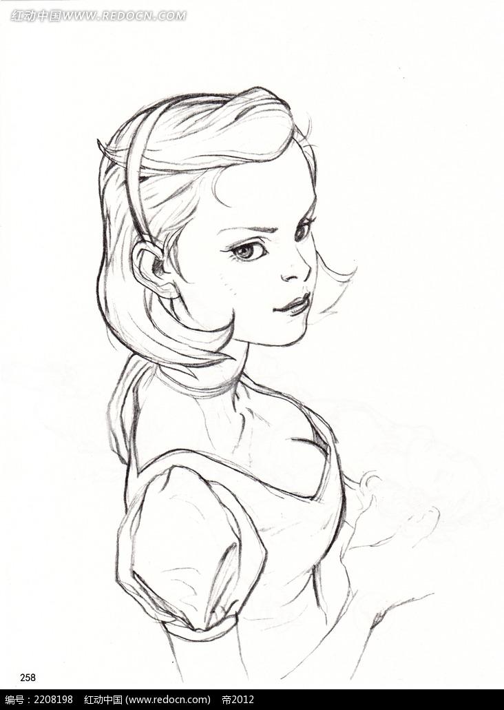 侧身美女插画手稿图片