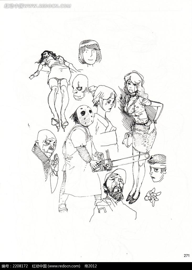 卡通学生人物线描
