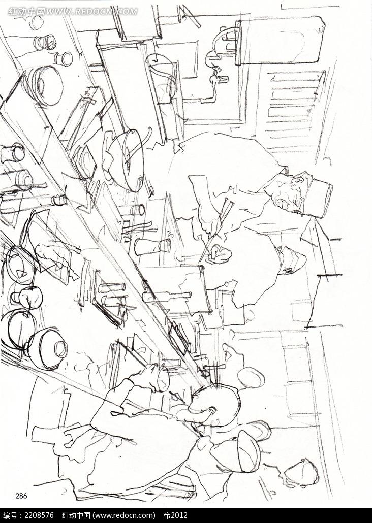 钢笔画  漫画手绘 素材 速写 涂鸦  写生 金政基插画手稿  厨房里的