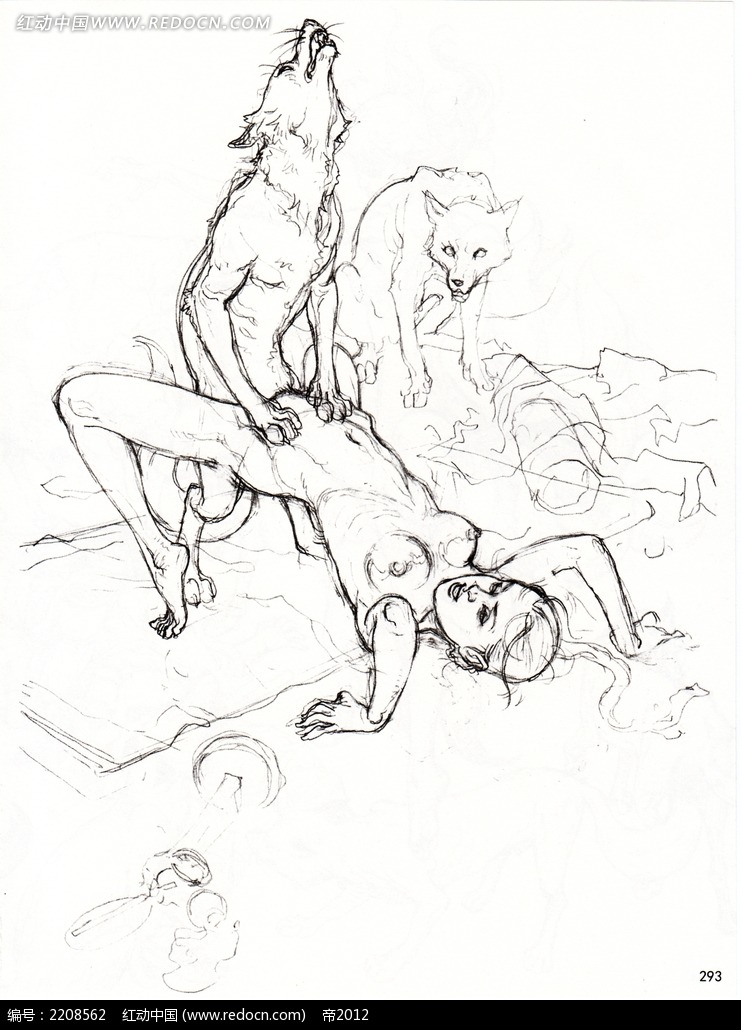 美女和狼插画手稿图片