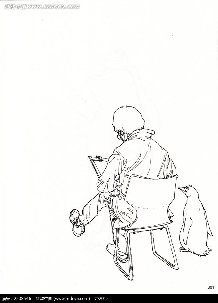 坐着画画的男子背景插画手稿图片