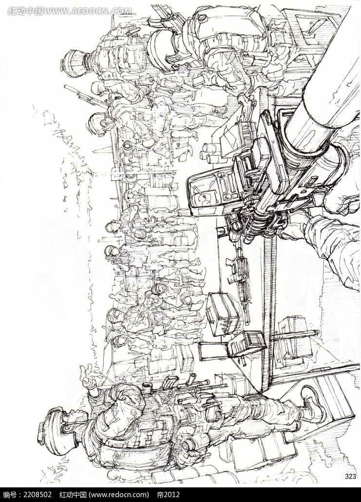 免费素材 图片素材 漫画插画 人物卡通 战争场景插画手稿  请您分享