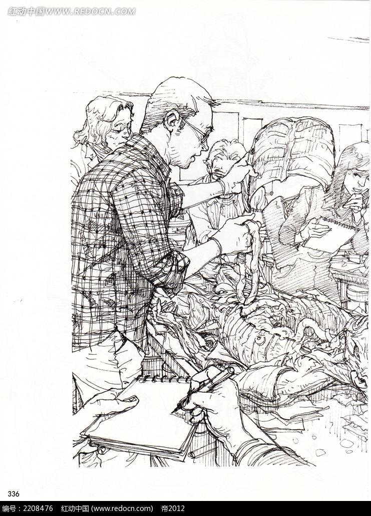 人体解剖手绘线描图片_人物卡通图片