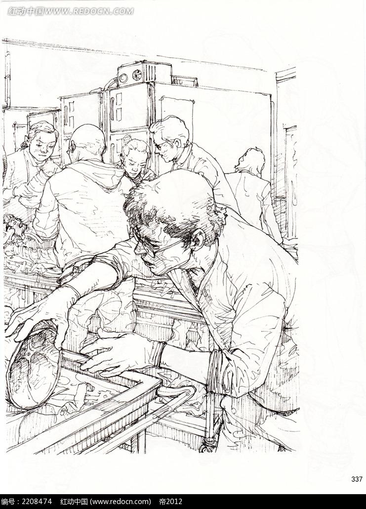 卡通手绘人物线描