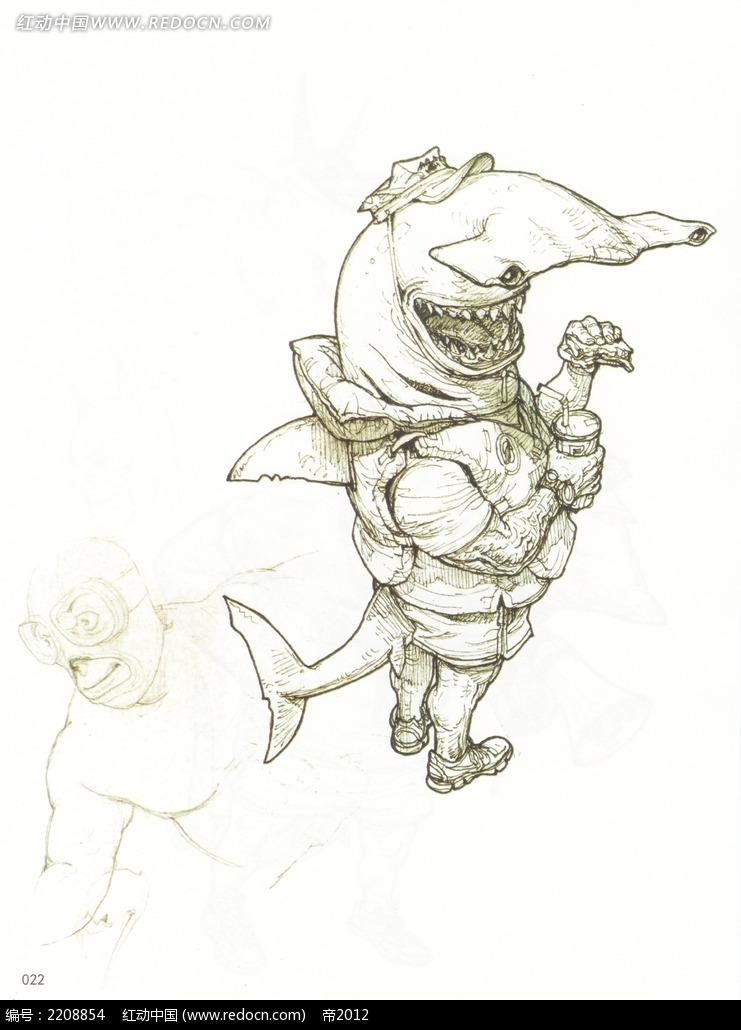 鲸鱼装备人物插画手稿
