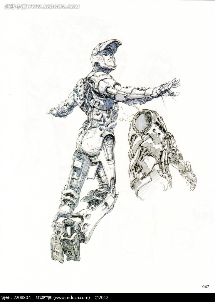 机器人动漫手绘线描图片_人物卡通图片