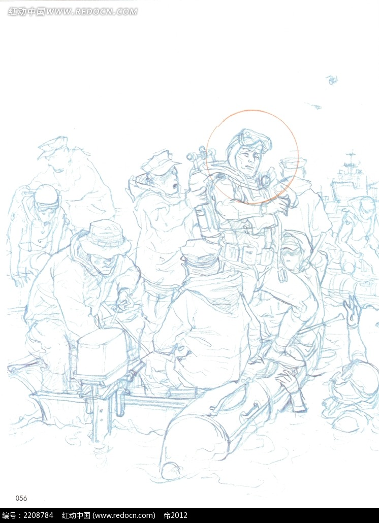 潜水员手绘人物线描