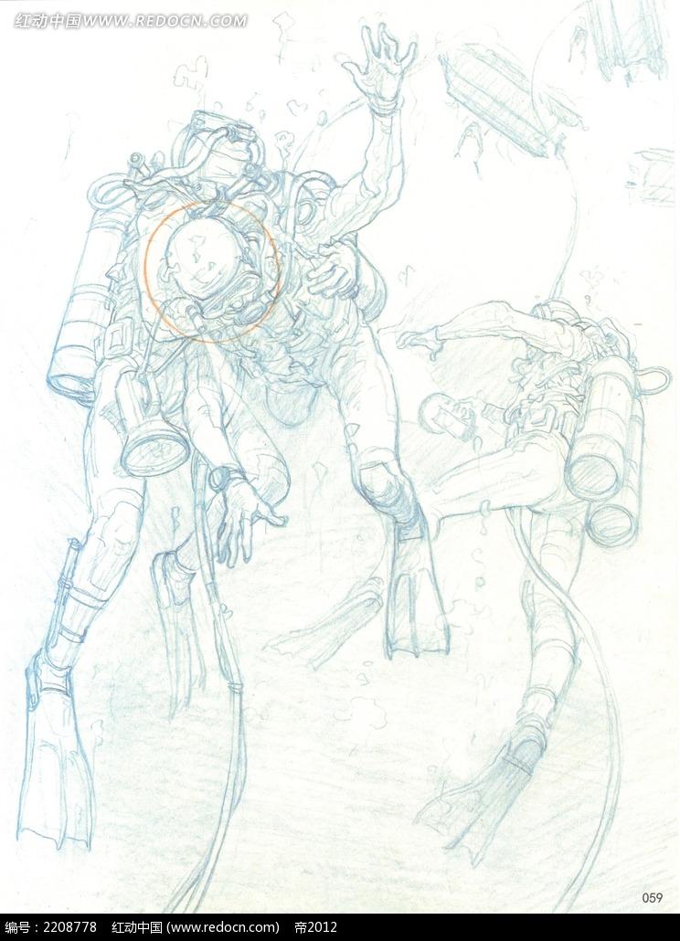 潜水员在海底手绘线描