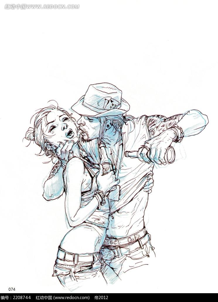强吻美女的男子插画手稿图片