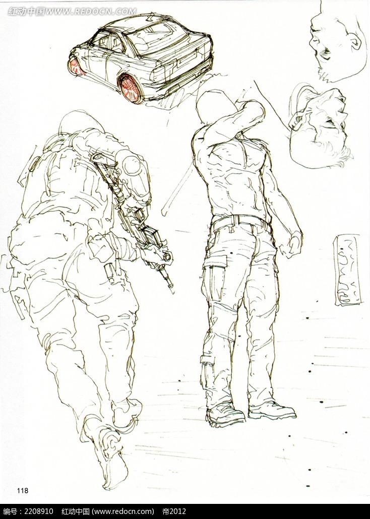 卡通战士人物手绘线描图片