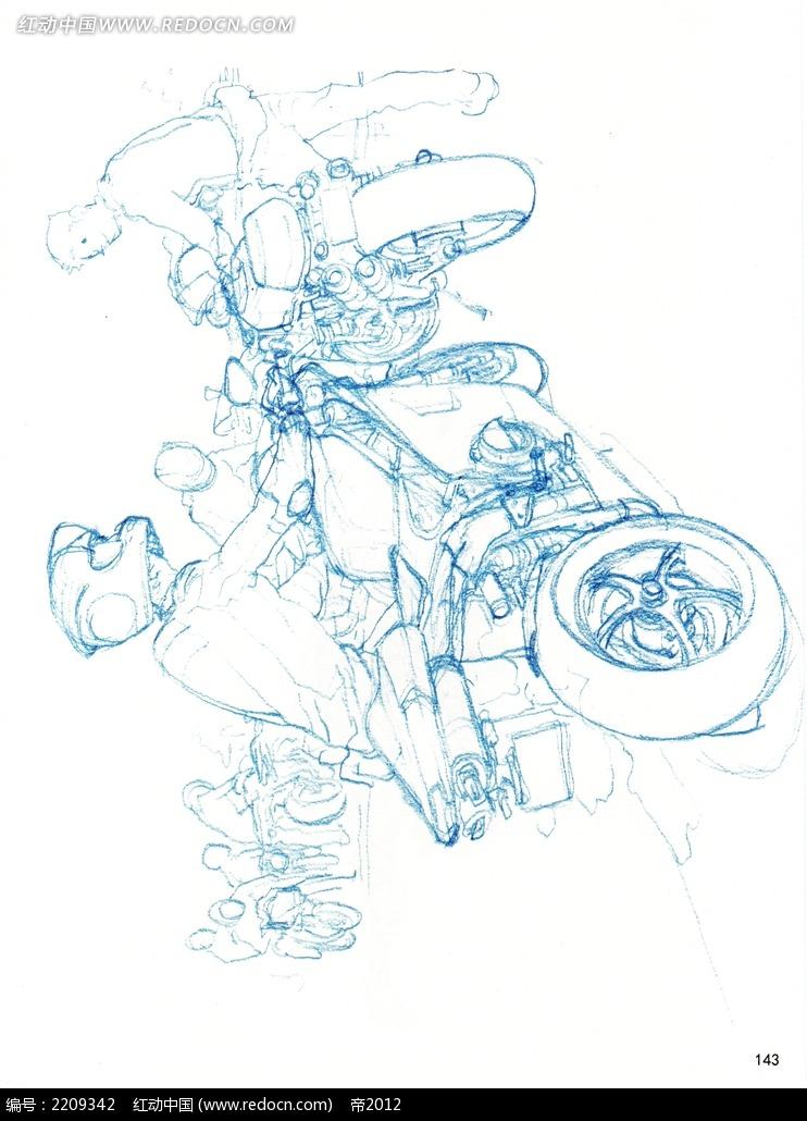 摩托车比赛手绘线描图片_人物卡通图片