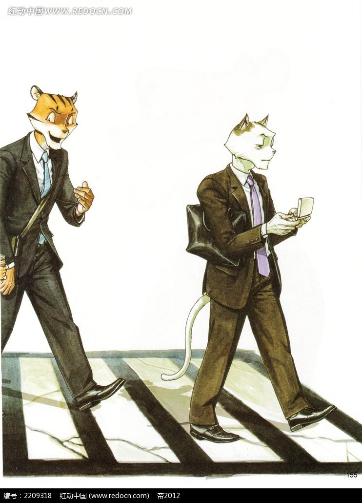虎头和猫头男人上班族素材_人物卡通图片