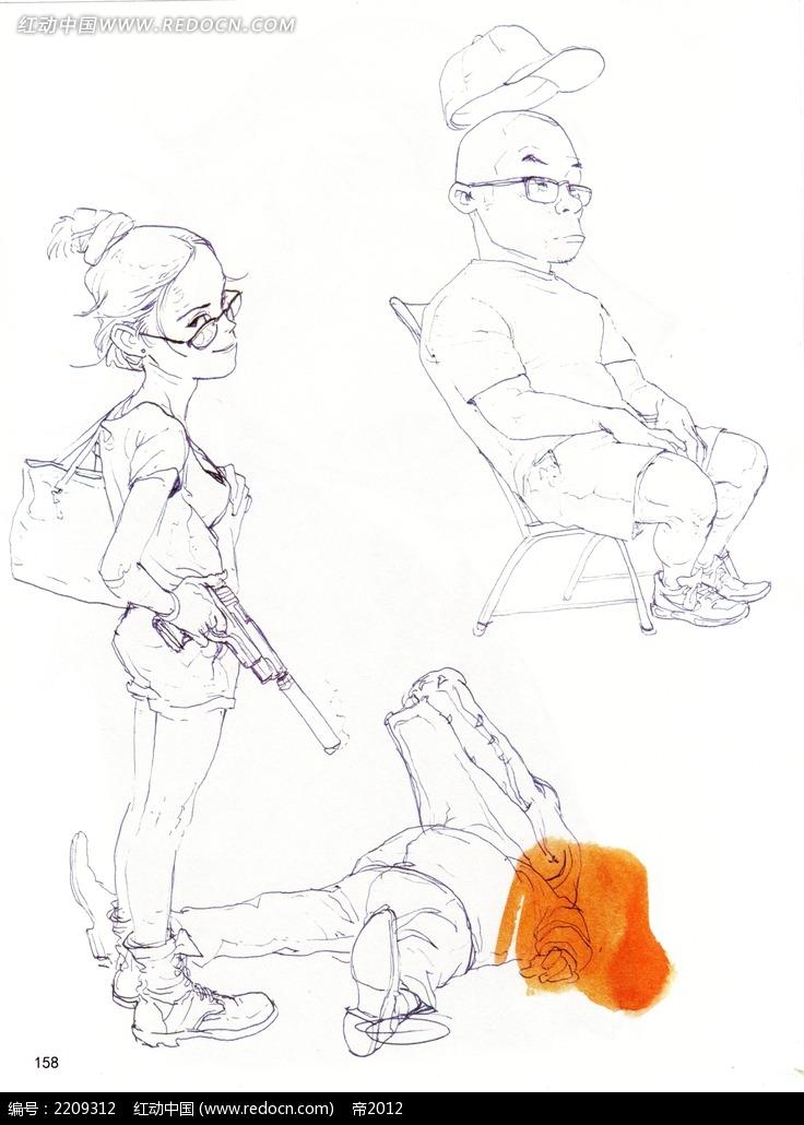 卡通美女带枪怪物手绘
