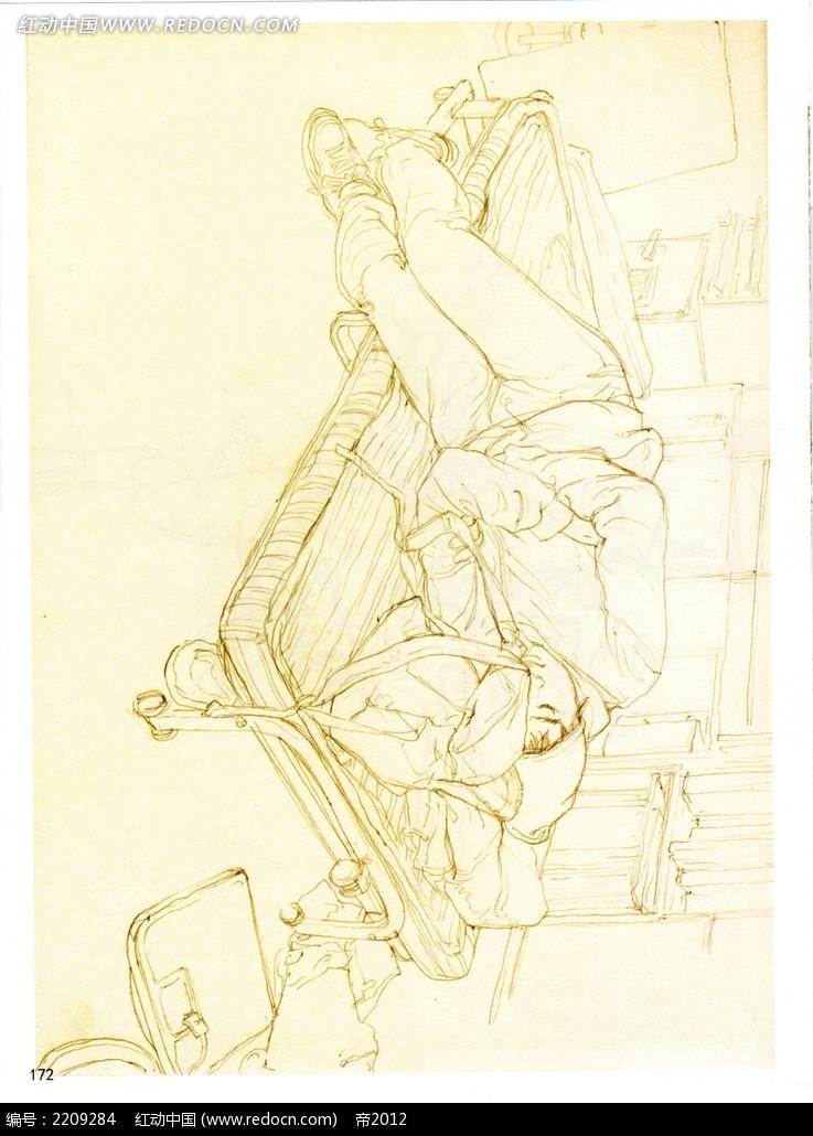 躺在椅子上的人物插画图片