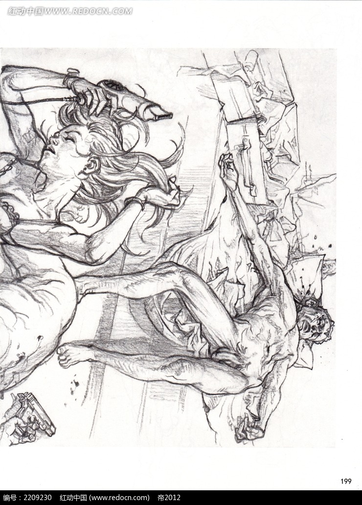 受伤的男女人物手绘图片