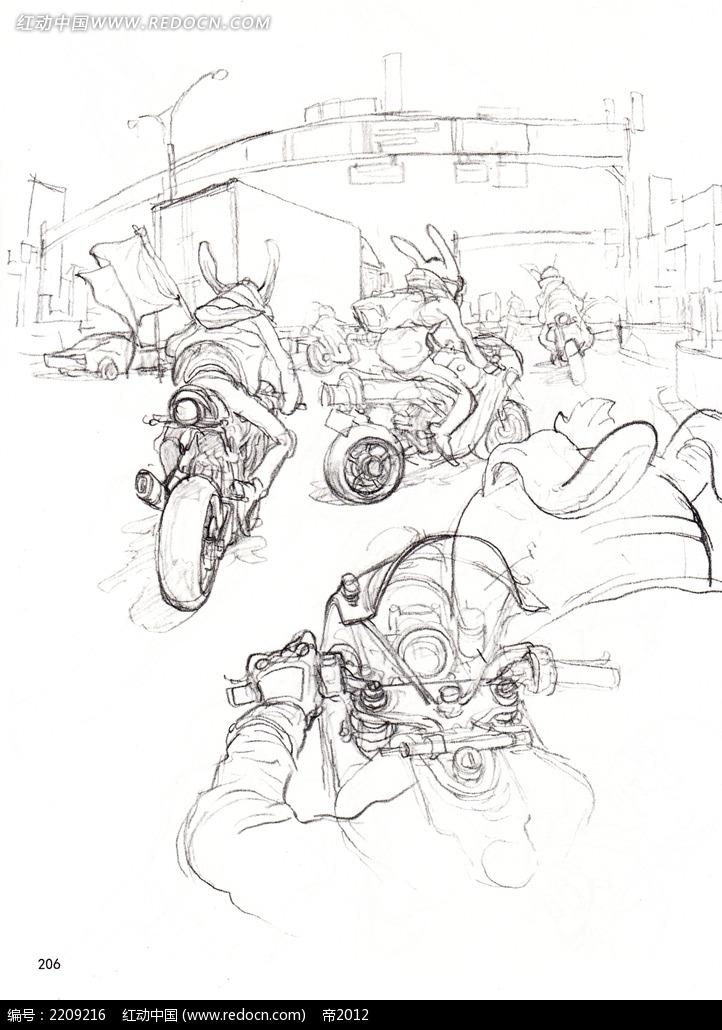 骑摩托车的卡通人物线描