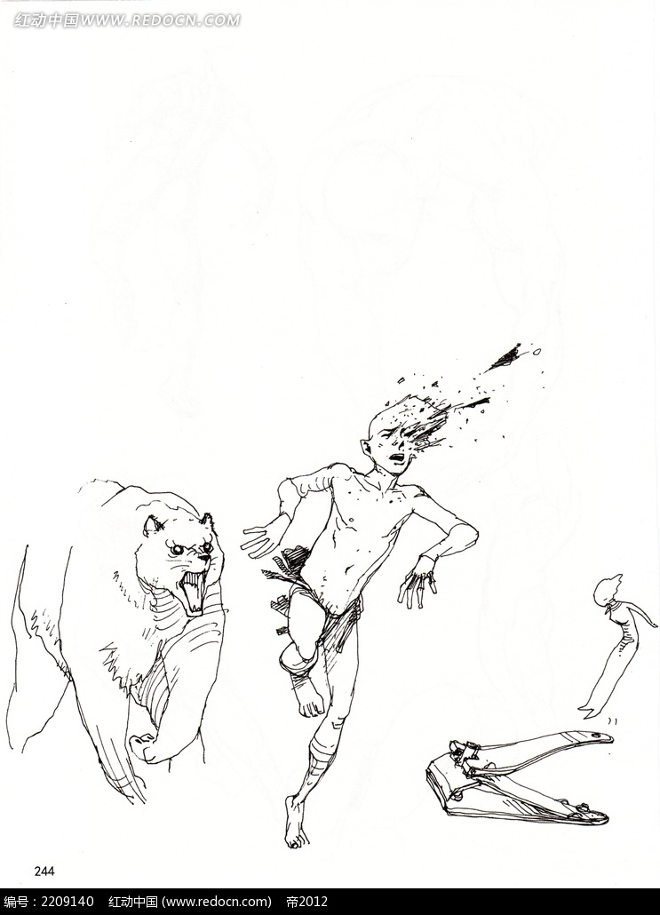 人被熊追赶手绘图片素材