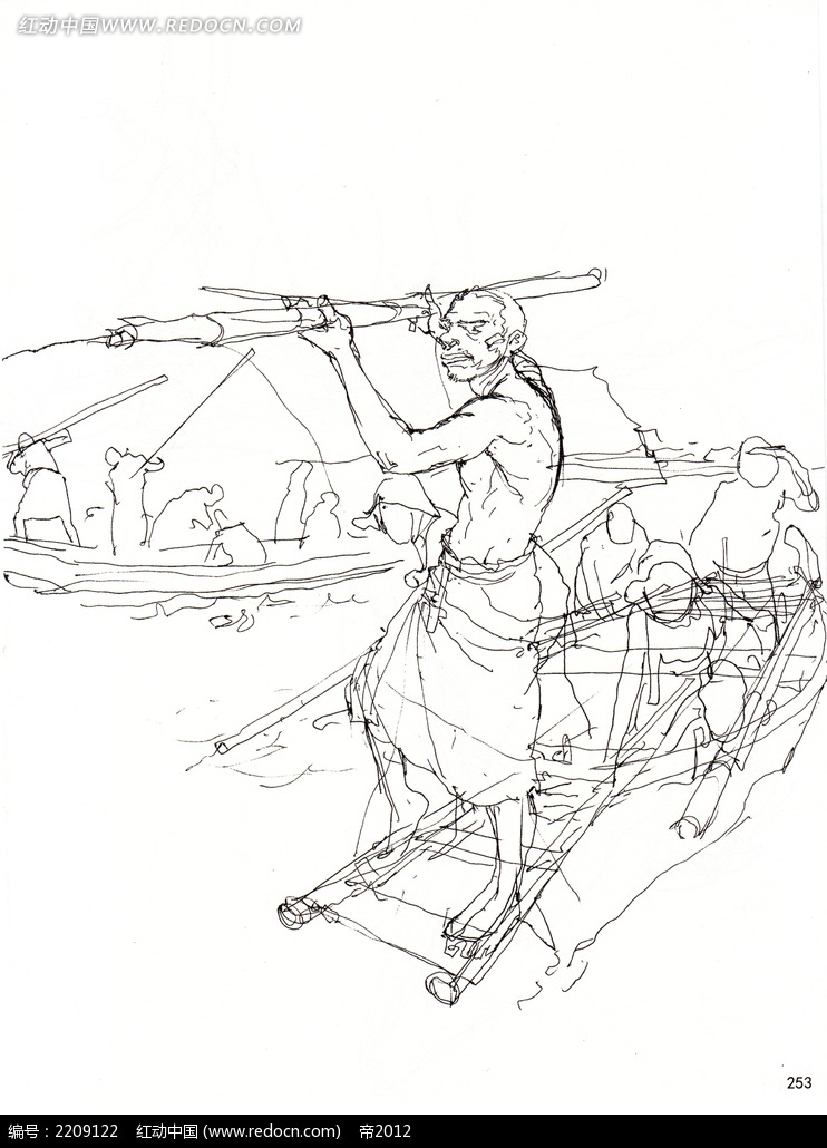 划船的老先生人物手绘线描