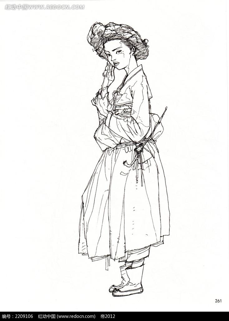 古装女子人物线描