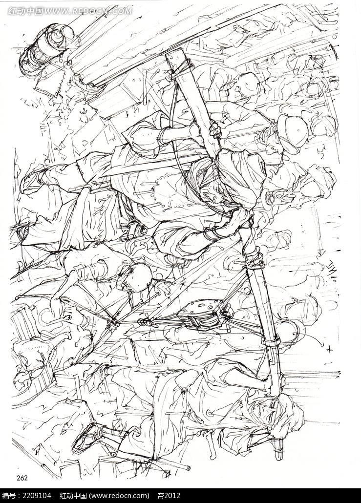 码头工人手绘线描_人物卡通图片
