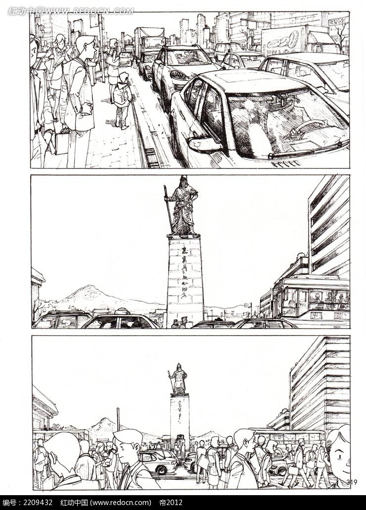 繁华城市人物手绘线描