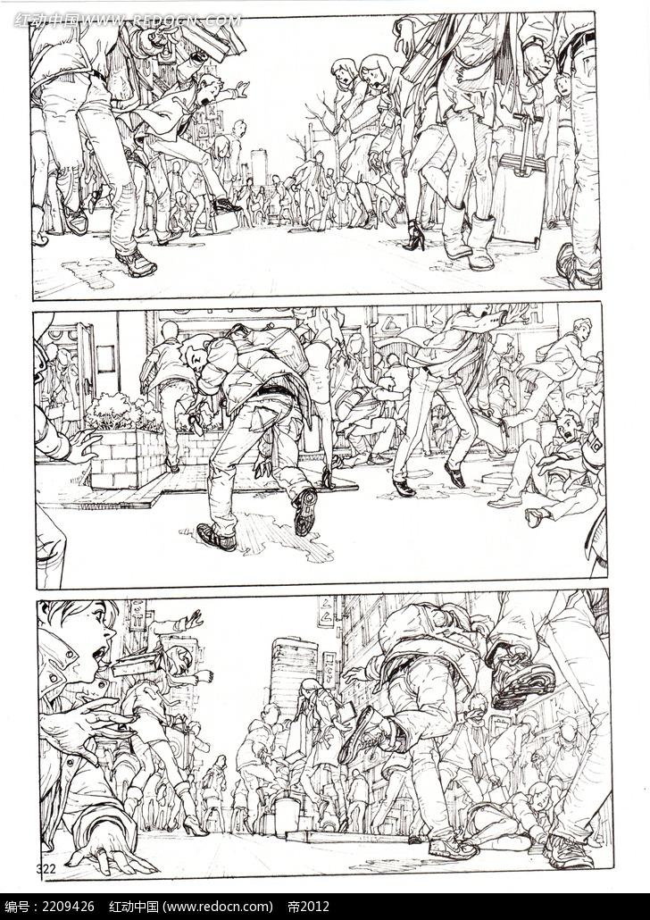 免费素材 图片素材 漫画插画 人物卡通 人类四处逃命手绘线描