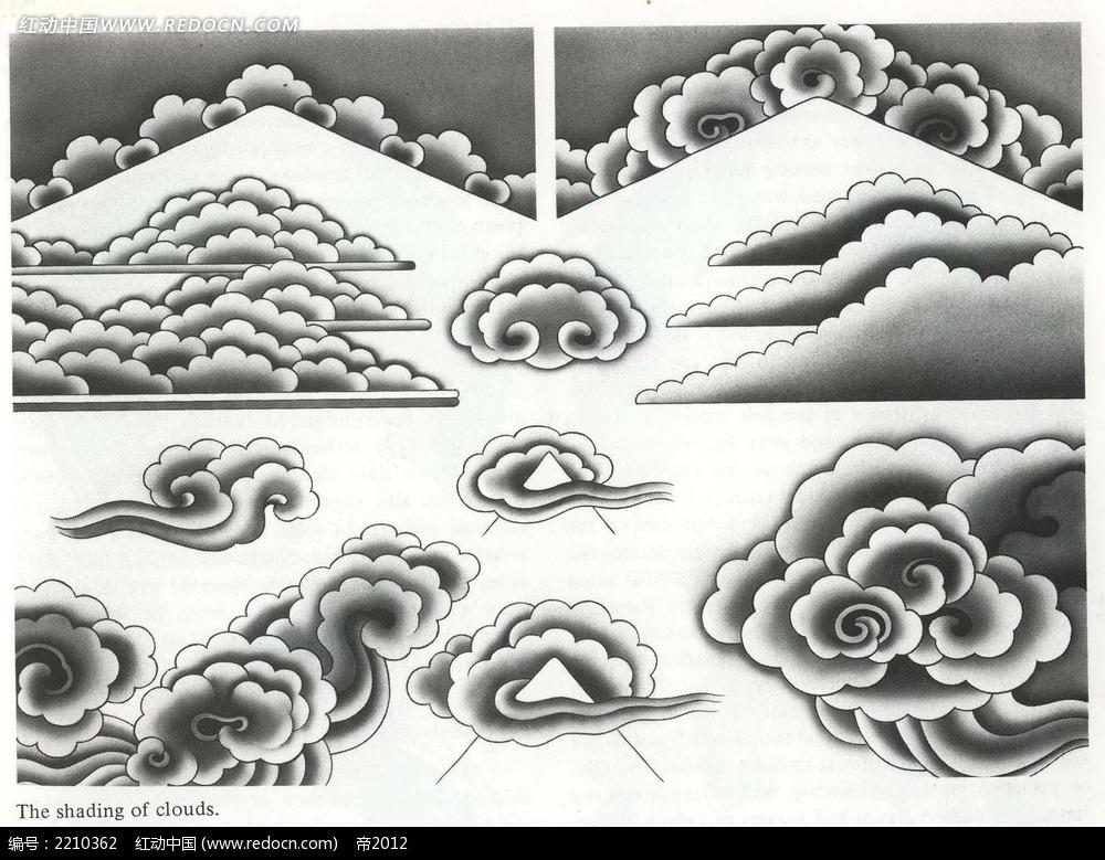 山纹云纹手绘图形图案