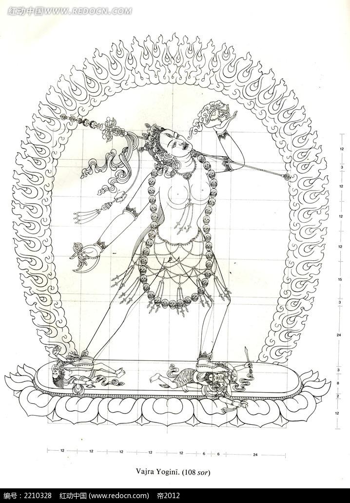 火纹佛像手绘图形图案