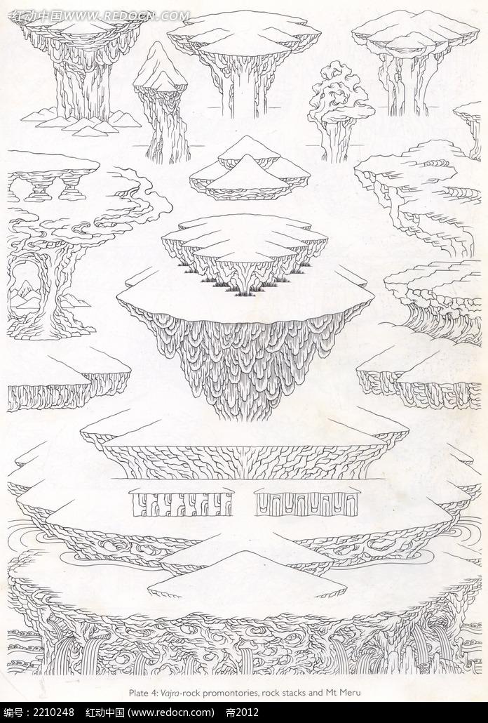 山石手绘图形图案