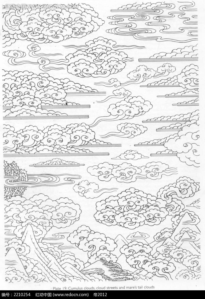 免费素材 图片素材 文化艺术 宗教信仰 古典云纹手绘线描稿