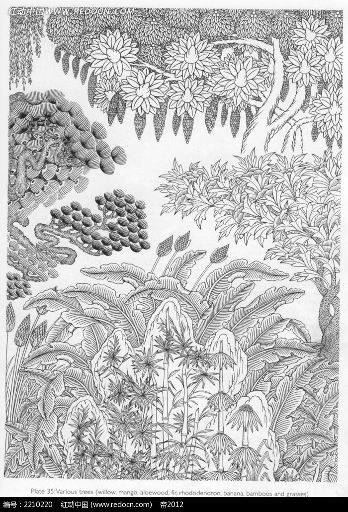 免费素材 图片素材 文化艺术 宗教信仰 树木手绘图形画  请您分享