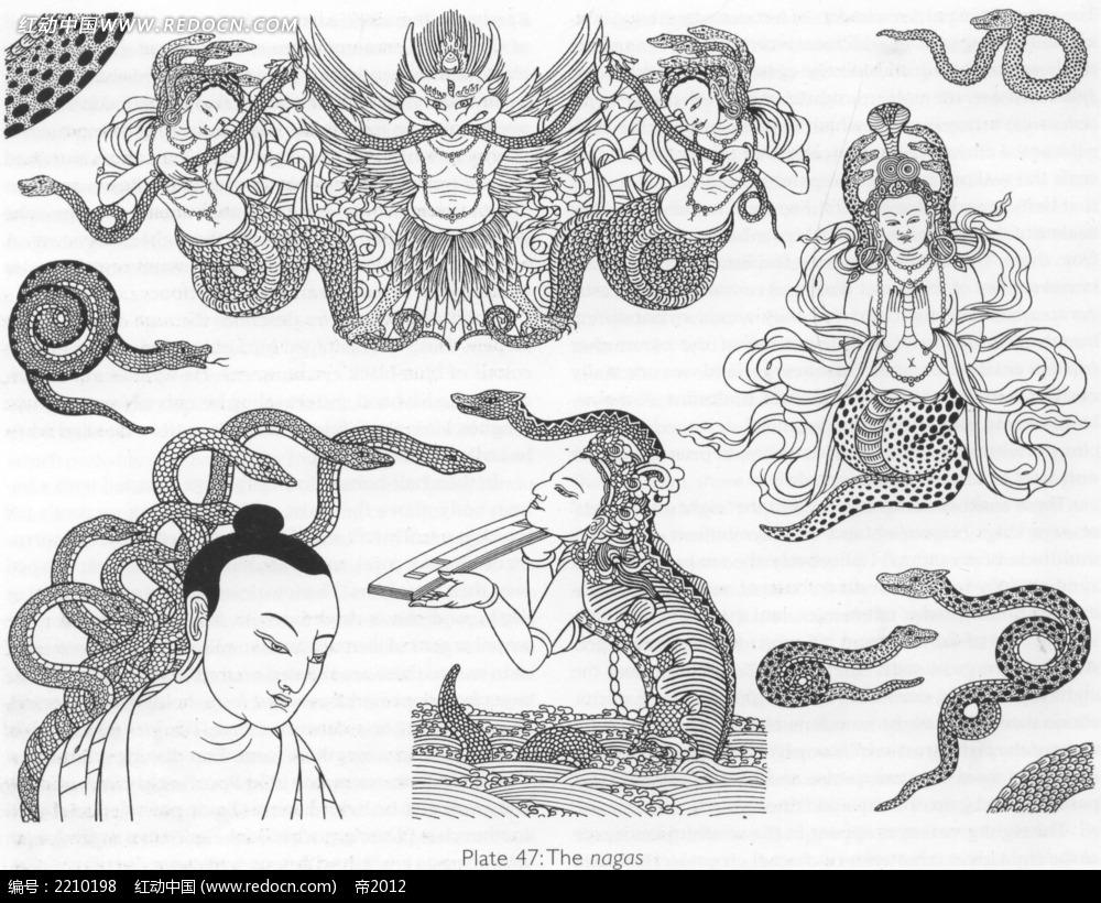 神仙佛像手绘线描图形