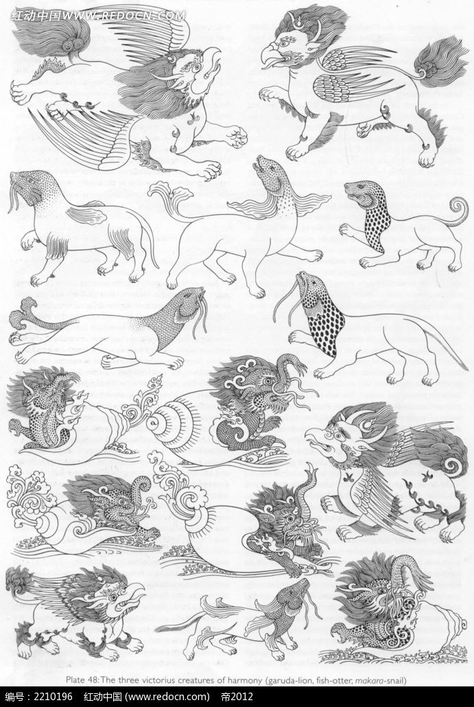 麒麟豹子手绘线描图形
