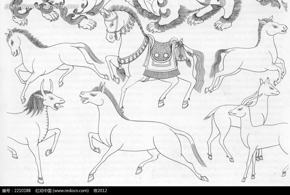 奔跑的马手绘线描图形图片