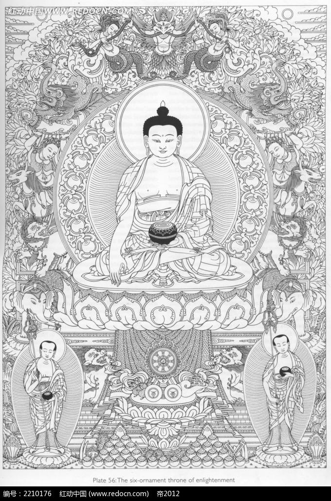 观音佛像神仙手绘线描背景画