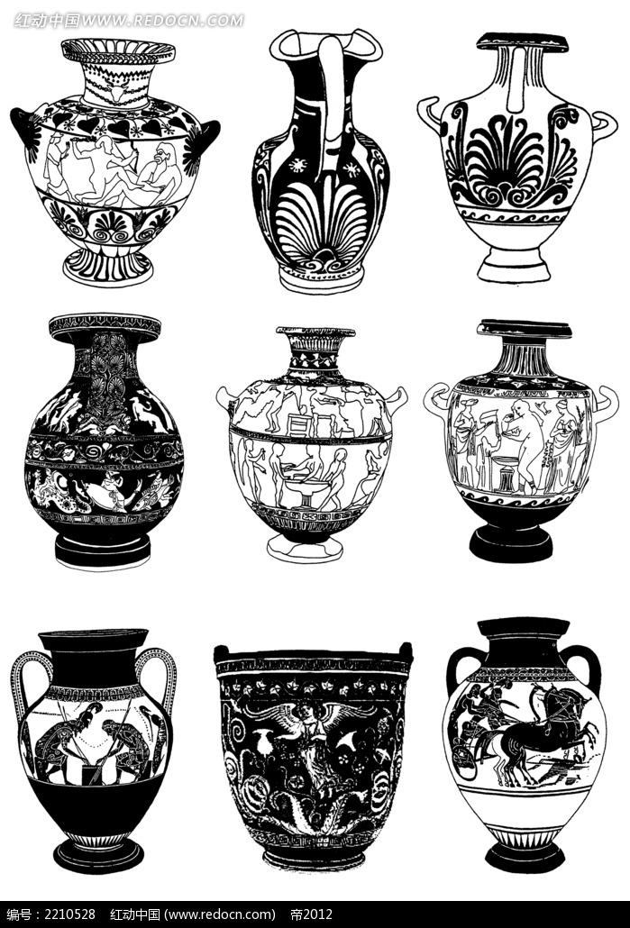 花瓶彩绘黑白装饰图案