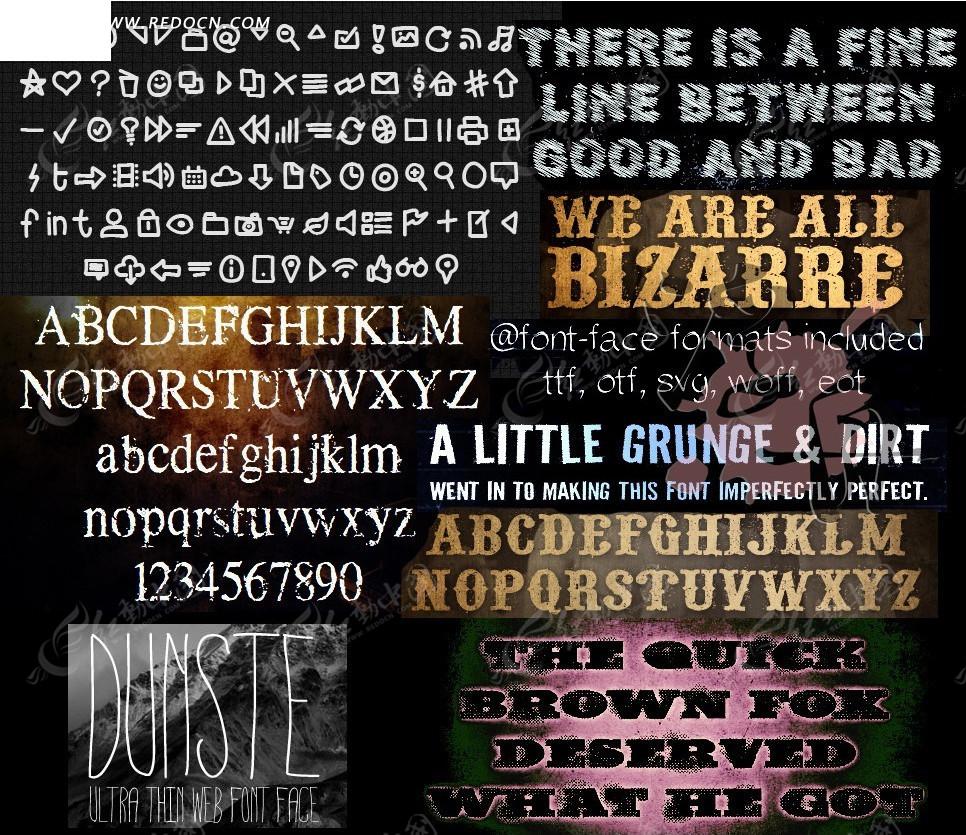 颓废风格英文字体图片