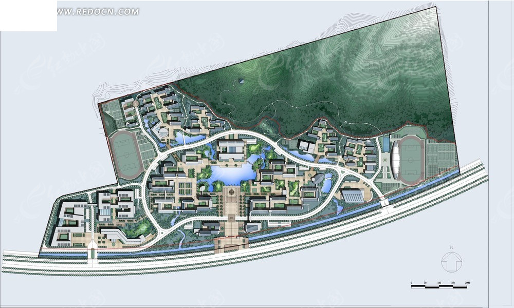 总平 彩色平面图 学校 水景 山景 规划设计  总平面图 psd分层素材
