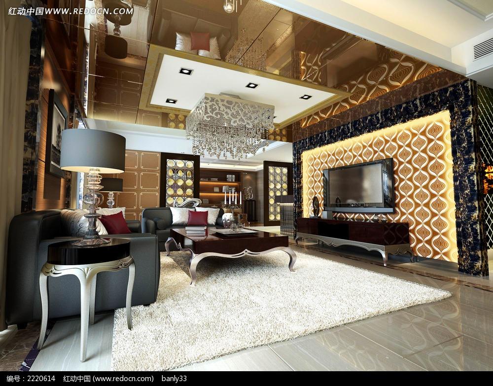 豪华欧式风格客厅效果图图片