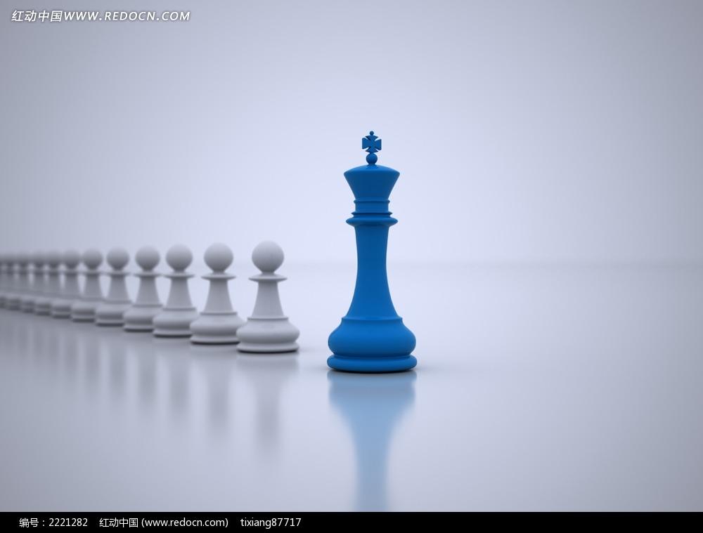 创意蓝色国际象棋棋子