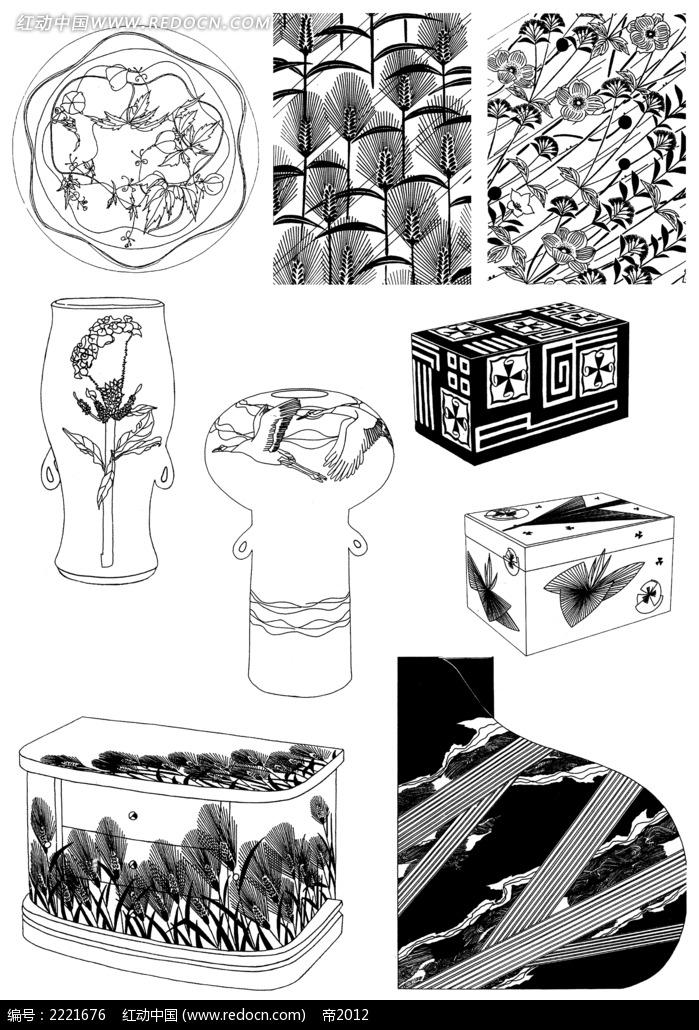瓶罐箱子花纹装饰图案图片免费下载 红动网