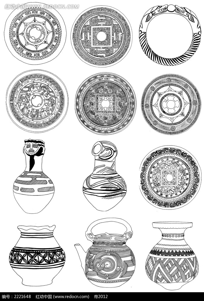 瓷盘坛罐古典装饰花纹图