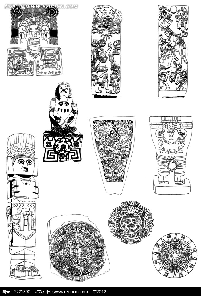 手绘古典人物装饰图案