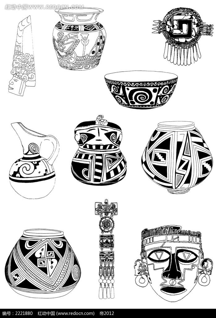 手绘古典陶瓷罐装饰图案
