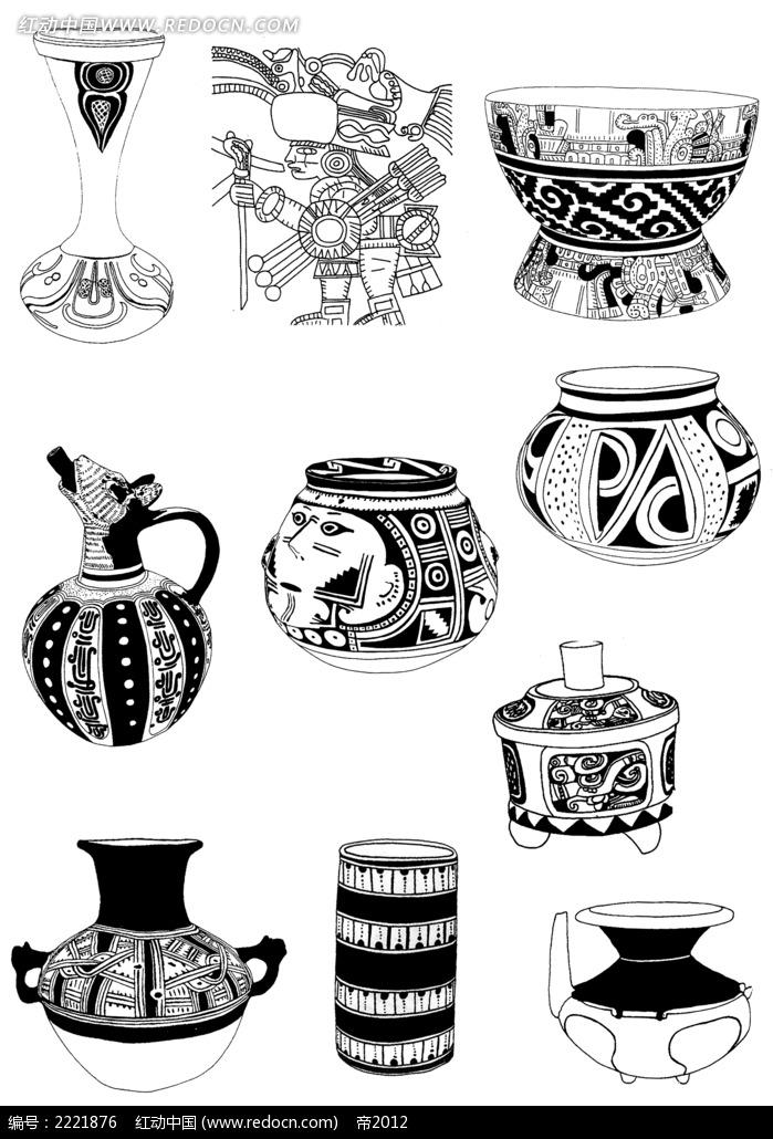 手绘古典古典装饰图案陶瓷罐